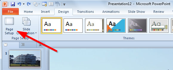 page setup powerpoint