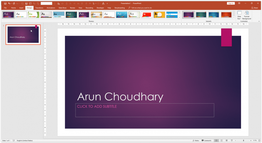 Choosing the background in Powerpoint 2013